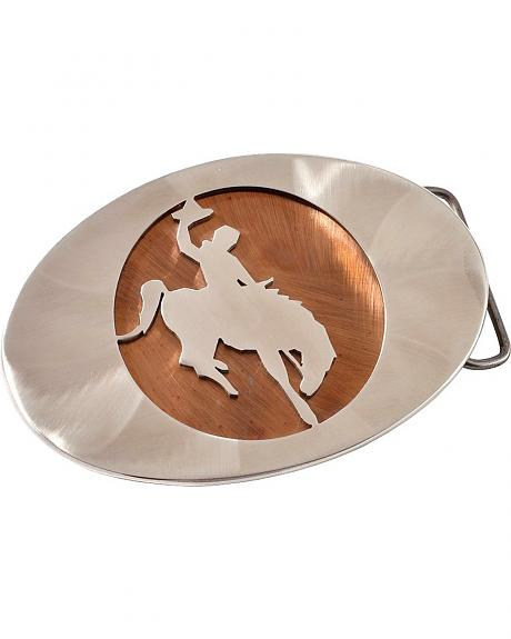 Exotic Stainless Steel Oval Bucking Bronco in Circle Buckle