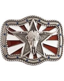 Nocona Patriotic Longhorn Skull Buckle