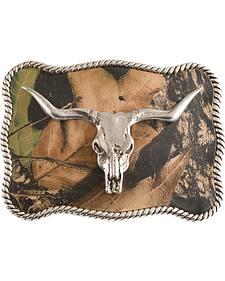 Nocona Mossy Oak Longhorn Skull Buckle