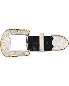 Montana Silversmiths Engraved with Gold Trim 3-Piece Belt Buckle Set