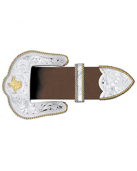 Montana Silversmiths Texas State Engraved 3-Piece Belt Buckle Set