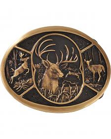 Montana Silversmiths Brass Deer Belt Buckle