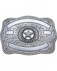 Nocona Silver Ribbon Star Belt Buckle
