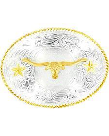 Nocona Oval Stars & Longhorn Belt Buckle