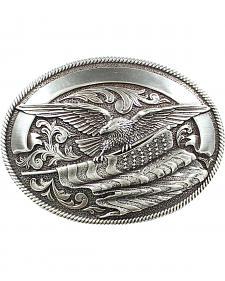Nocona Bald Eagle & American Flag Buckle
