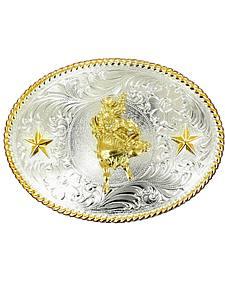Nocona Bull Riding Star Oval Buckle