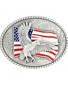 Nocona Bald Eagle & American Flag Oval Buckle