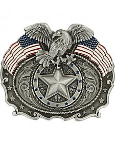 Nocona Men's American Flag & Bald Eagle Belt Buckle