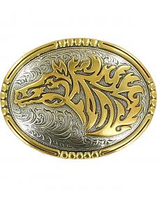 Crumrine Vintage Men's Two-Tone Horse Belt Buckle