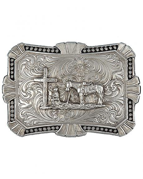 Montana Silversmiths Engraved Cowboy Prayer Buckle