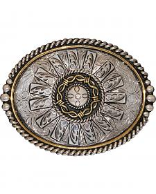 Stetson German Silver & Gold Hand Engraved Barbed Wire & Spur Belt Buckle
