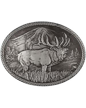 Montana Silversmiths Gunmetal Outdoor Series Wild Elk Carved Buckle