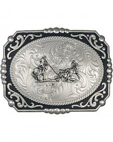 Montana Silversmiths Painted Cowboy Cameo with Team Ropers Buckle