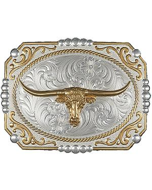 Montana Silversmiths Two-Tone Cowboy Cameo with Longhorn Buckle