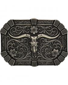 Montana Silversmiths Classic Flourished Trim Longhorn Skull Attitude Buckle