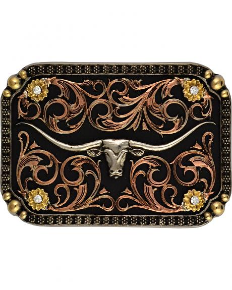 Montana Silversmiths Tri-Color Longhorn Traditional Attitude Buckle