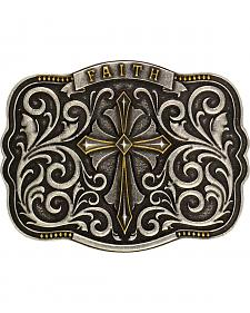 Montana Silversmiths Men's Two-Tone Faith Cross Traditional Attitude Buckle