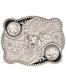 Montana Silversmiths Antiqued Buffalo Nickel and Skull Buckle