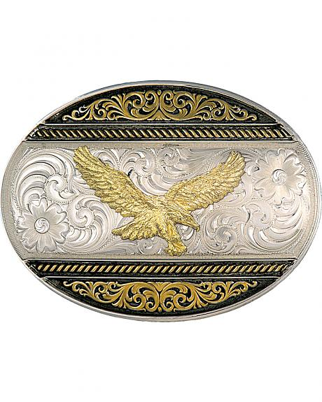 Montana Silversmiths Two Tone Golden Eagle Oval Western Buckle