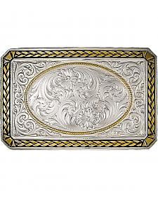 Montana Silversmiths Two Tone Wheat Trim Rectangle Buckle