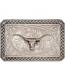 Montana Silversmiths Antiqued Wheat Trim Longhorn Rectangle Buckle