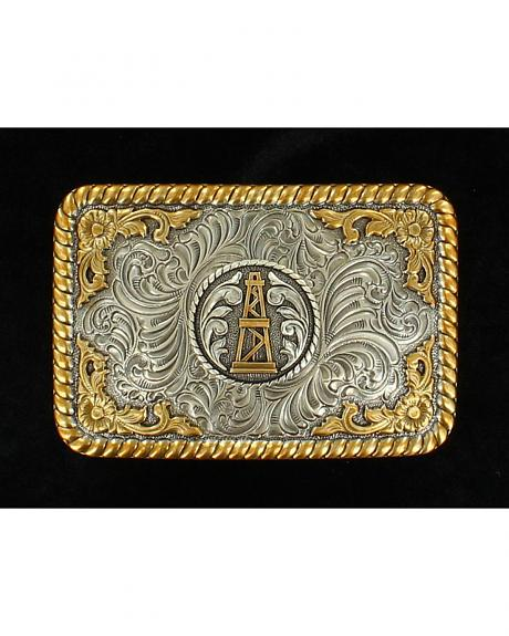 Nocona Gold and Silver Oil Derrick Buckle