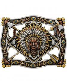 Stetson Men's Sitting Bull Silver Belt Buckle