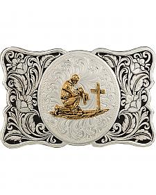 Montana Silversmiths Men's LeatherCut Scallop Buckle with Praying Cowboy