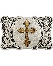 Montana Silversmiths Men's LeatherCut Scallop Buckle with Flurry Cross