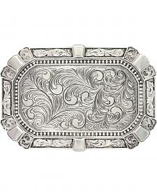 Montana Silversmiths Men's Heritage Rounded Rectangular Feathered Attitude Buckl