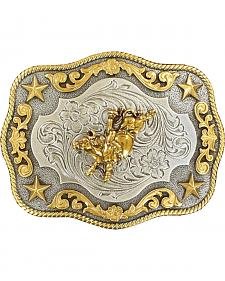 Nocona Rope Edge Bull Rider Silver/Gold Buckle