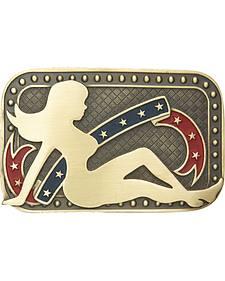 AndWest Men's Patriotic Mud Flap Girl Belt Buckle