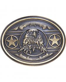 AndWest Men's Patriotic Bald Eagle with Stars Belt Buckle