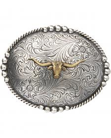 AndWest Men's Brass Longhorn Oval Belt Buckle
