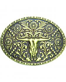 AndWest Men's Brass Steer Skull Oval Belt Buckle