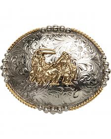 AndWest Men's Antique Gold Team Roper Belt Buckle