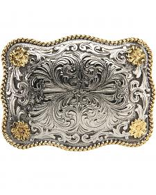 AndWest Men's Rectangular Scallop Rope & Floral Belt Buckle