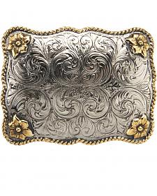 AndWest Men's Large Rectangular Scallop Rope & Floral Belt Buckle