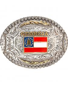 AndWest Georgia Flag Regional Motif Belt Buckle