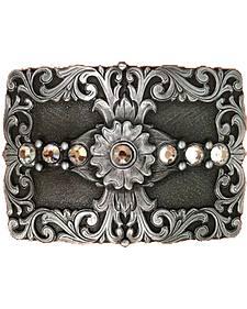 AndWest Men's Floral & Rhinestones Rectangle Belt Buckle