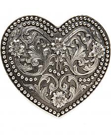 AndWest Women's Small Silver Scrolling Heart Belt Buckle