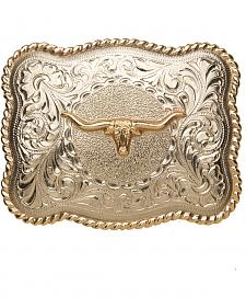 AndWest Men's Sonora Silver Longhorn Belt Buckle