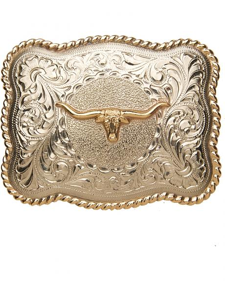 AndWest Men's Sonora Silver Longhorn Belt Buckle