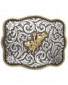 AndWest Men's Two-Tone Bull Rider Belt Buckle