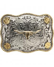 AndWest Men's Two-Tone Longhorn Floral Belt Buckle