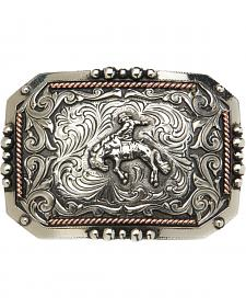 "AndWest Vintage ""Saratoga"" Two-Tone Bronc Rider Buckle"