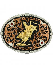 Montana Silversmiths Tri-Color Bull Rider Attitude Belt Buckle