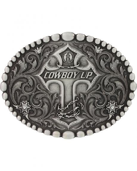 Montana Silversmiths Classic Oval Beaded Trim Cowboy Up Attitude Belt Buckle
