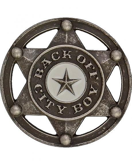 Montana Silversmiths Kids' Back Off City Boy Attitude Belt Buckle