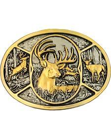 Montana Silversmiths Deer Two-Tone Attitude Belt Buckle